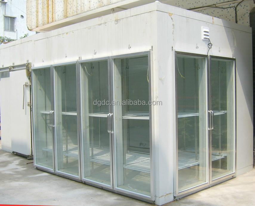 glass doors displaying cold room in supermarket