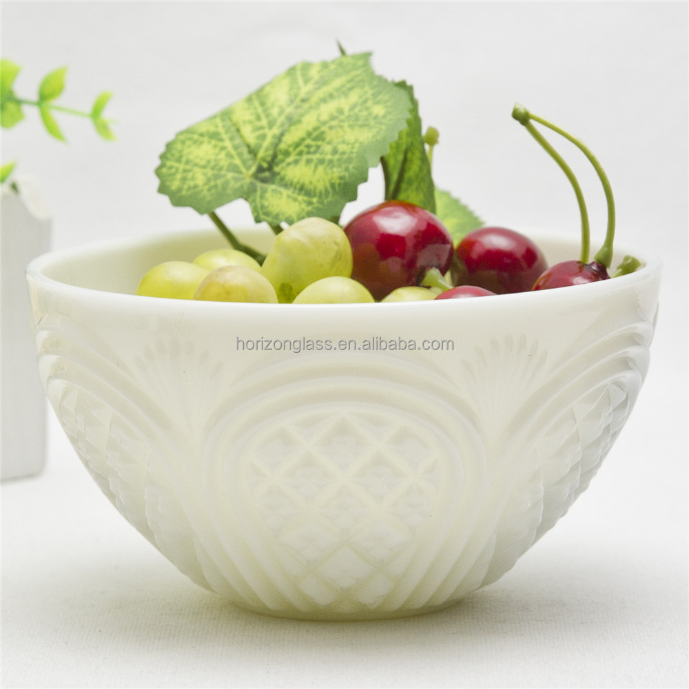 Transparent White Jade Borosilicate Glass Large Salad Bowl Footed Mixing Glass Salad Bowl