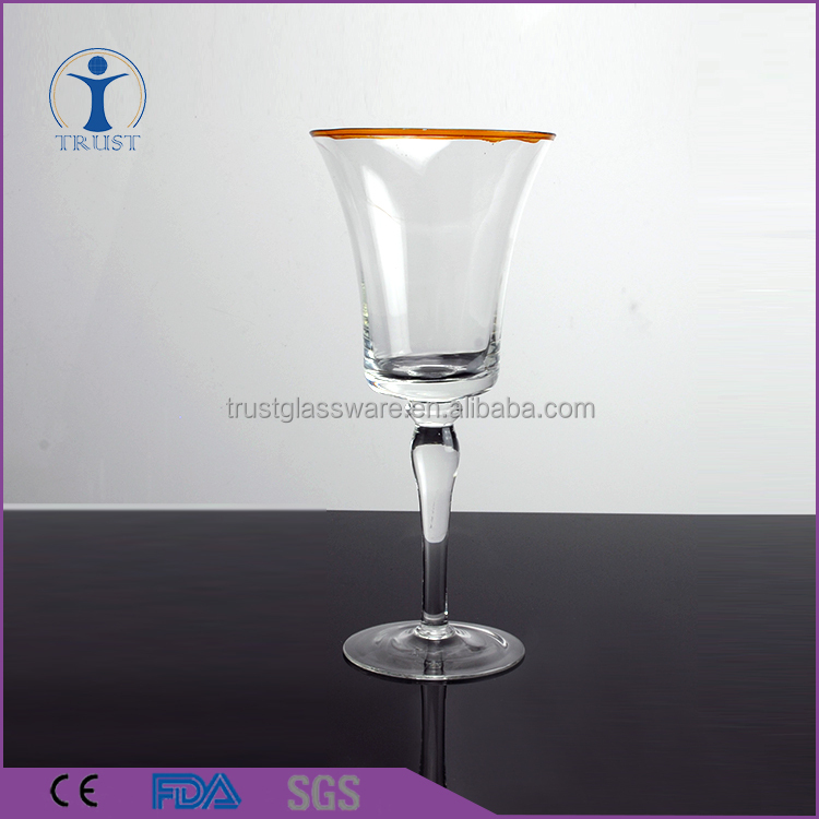 China Factory Custom Cheap Wedding Home Tableware High Quality Wine Glass With Gold Rim