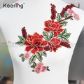 Stickers For Clothes Badge Sewing Fabric Applique embroidered flower patch WEF-770