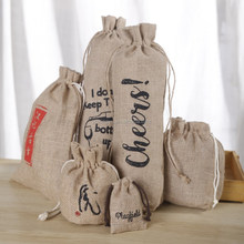 New design high quality jute drawstring bag