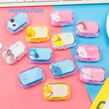 Italy hot sale eyewear accessories Cartoon portable plastic lens case clear colorful contact lens case