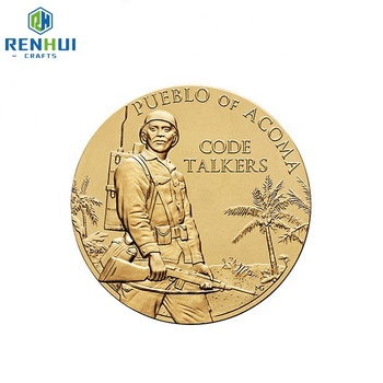 High quality 3d customized gold plated antique  metal challenge coin
