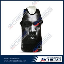 Sublimated lycra wholesale wrestling singlet shirt