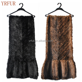 YR335B Women knitted black color mink fur cape