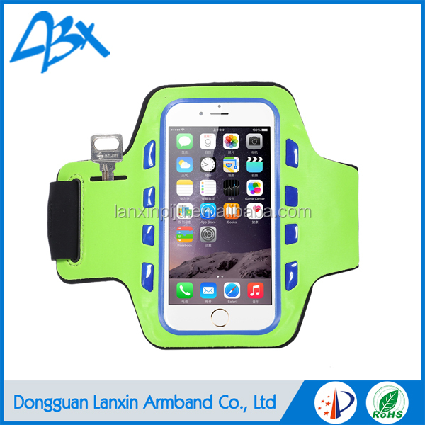 Good quality green durable elastic lycra LED super slim sports armband light up case for iphone 5c/SE