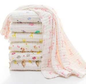 Cotton Gauze Blanket Baby Swaddling Wraps Baby Bath Towel Travel Swaddle Blanket For Water Standard Textiles Blankets 6 Layers