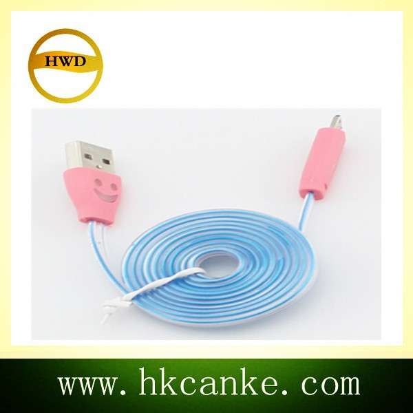 Mobile Phone USB To Micro USB Charging Cable With Flashing LED Light