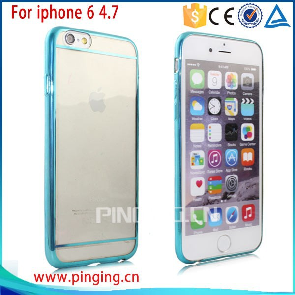 New Product TPU transparent metal plating For iPhone 6 , metal electroplating for ipone 6