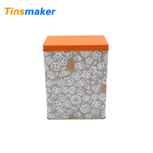 Wholesale square packing tin tea can with airtight metal lid