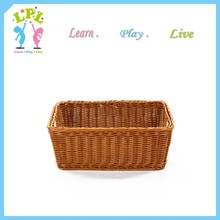 Wholesale exqusite rectangle plastic woven bread storage tray plastic rattan wicker basket tray