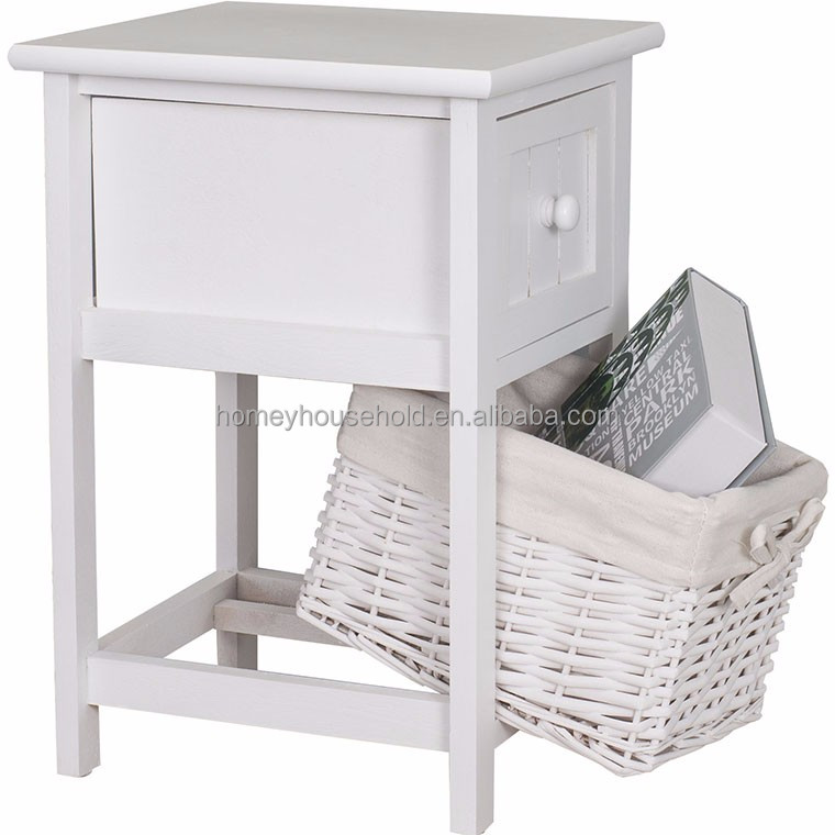 Shabby Chic White Wicker Nightstand Drawer Basket Side Tables For Bedroom