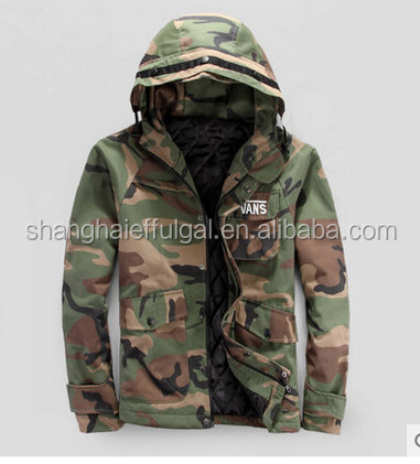 2015 Winder camourflage hooded hunting jacket