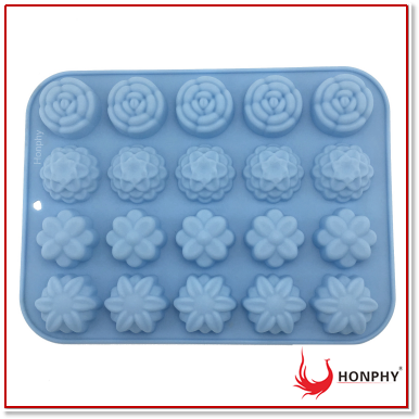 20-cavity Flowers Cupcake Baking Mold Cake No Stick Tray Silicone Mold