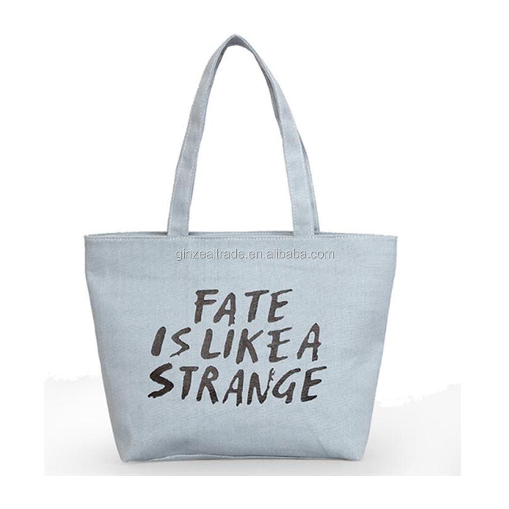 Wholesale Fashion Printed Custom Tote Long Handles Zipper Cotton Bag For Travelling