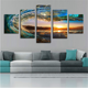Wholesale beautiful seascape modern wall art 5 piece canvas prints for living room decor