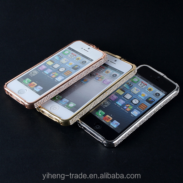 Hot selling Fashion Luxury Bling Crystal Diamond Metal Frame Case Cover For iPhone 5 5G drop shipping valuable