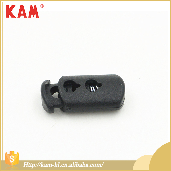 Top quality black elastic spring adjustable plastic clothing stopper