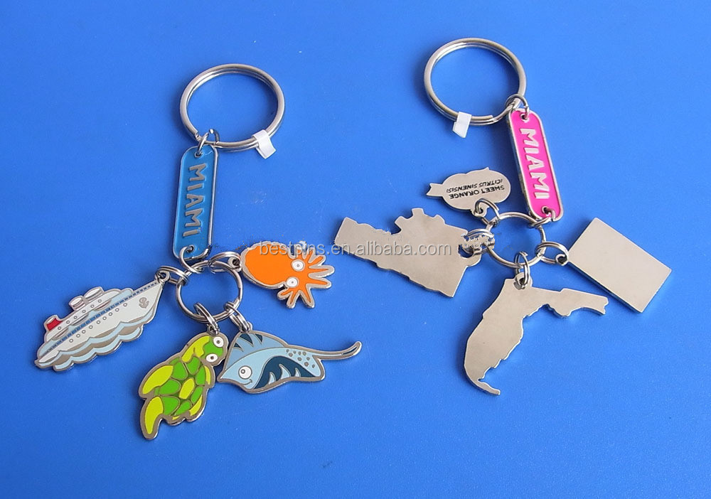 Travel miami souvenir gifts trinket metal key tags sea park promotional gifts key chains
