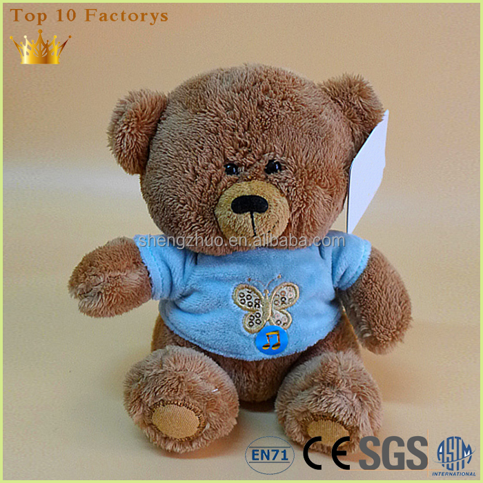 Embroidery baby soft jewelry china chubby bear with blue cloth