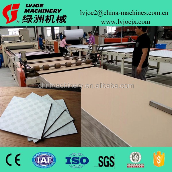 Vinyl Laminated Gypsum Board Ceiling Tile Production Line Cutting, edge sealing, Packaging Machine