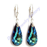 DAR Blue Crystal Stainless Steel Silver Lever Back Dangle Earring