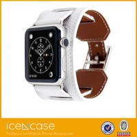 New 1:1 Original Quality Cuff Bracelet Strap Leather Watchband for Apple Watch Band 42mm 38mm With Metal Adapters