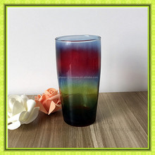 500ml durable rainbow colored dinking glass cup,glass tumbler for juice beer milk