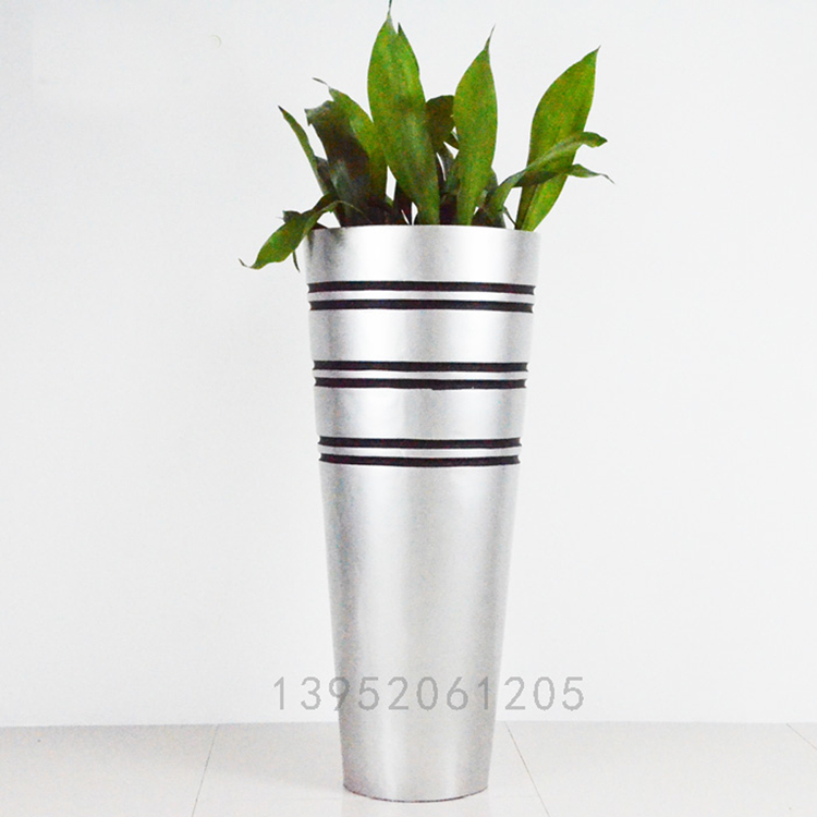 curved silver outdoor large flower pot for sale