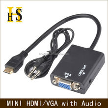 mini hdmi to vga adapter with 3.5mm audio up to 1920*1080 hdmi2vga converter cable