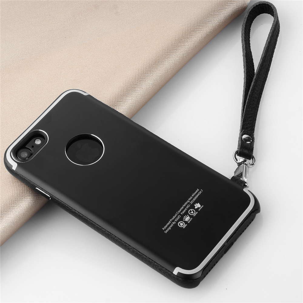 genuine leather lanyard metal case for iPhone 7 aluminum case