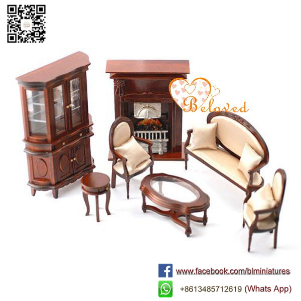 1:12 Scale Miniature dining Room Set Victorian Style Doll Houses with Furniture
