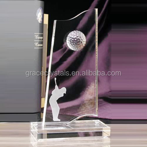 Wholesale custom engraving golf sports K9 crystal awards