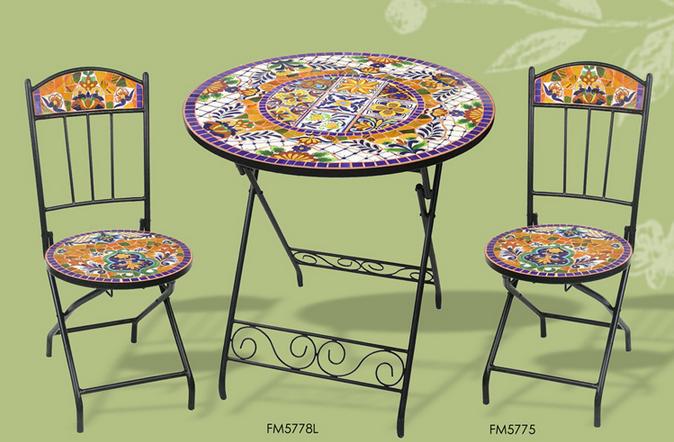 Fer forg et mosa que de c ramique table et chaises de - Table de jardin ceramique et fer forge ...