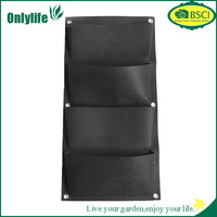 Onlylife 4 Pockets Vertical Wall Garden Planter Recycled Materials Balcony Plant Grow Bag, Black