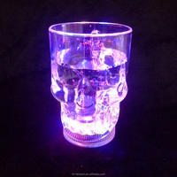 300ml/14oz Water Inductive Glowing Wine Beer Cola Cup Mug LED Glowing Skull Shape cup (1lot=100pcs)