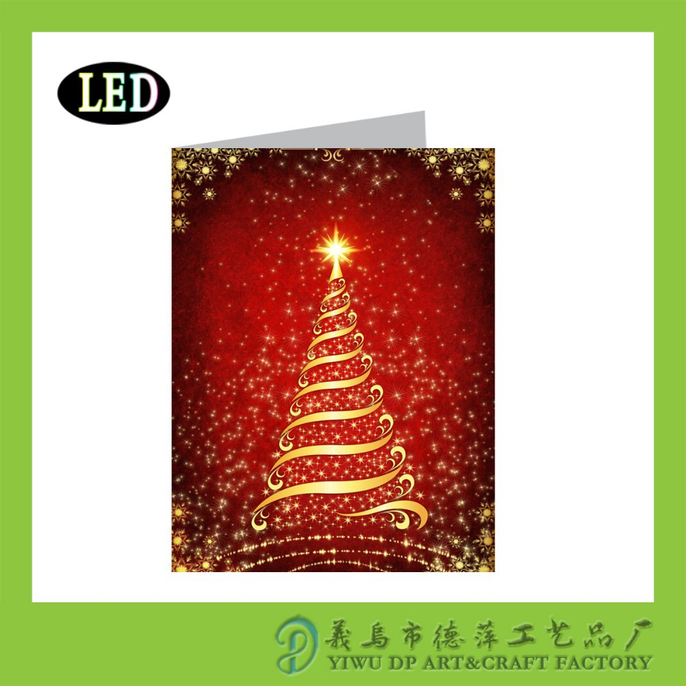Holiday greeting cards with optic fiber light buy