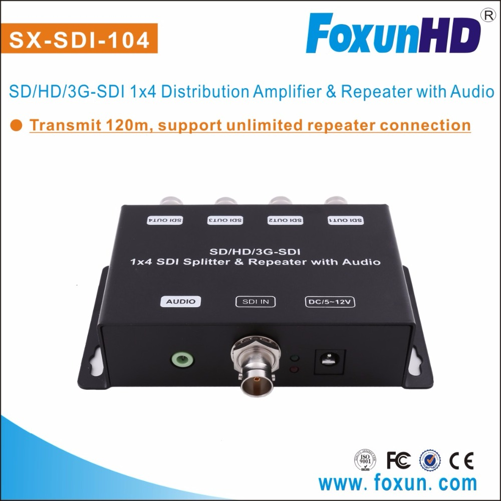 FOXUN SX-SDI-104 new 4 ports with Re-clocking ,support 3.5mm stereo audio extraction video splitter