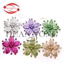 Top quality glitter plastic little flower personalized wholesale hanging christmas ornament for christmas decoration 2018