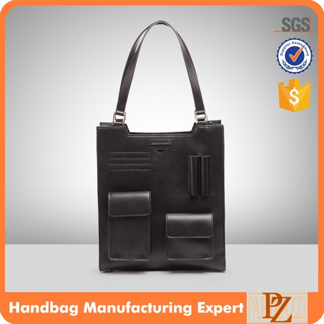 4118 Latest Design Black Color Ladies Blank PU Synthetic Leather Custom Shopping Tote bag