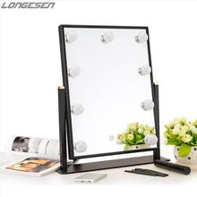 6500k 3500k theatrical vanity girl hollywood 9 led makeup mirror with light hollywood lighted mirror