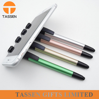 Mobile phone stents capacitance pen Multi-functional foreign trade brush touch screen pen High sensitive plastic twist stylus