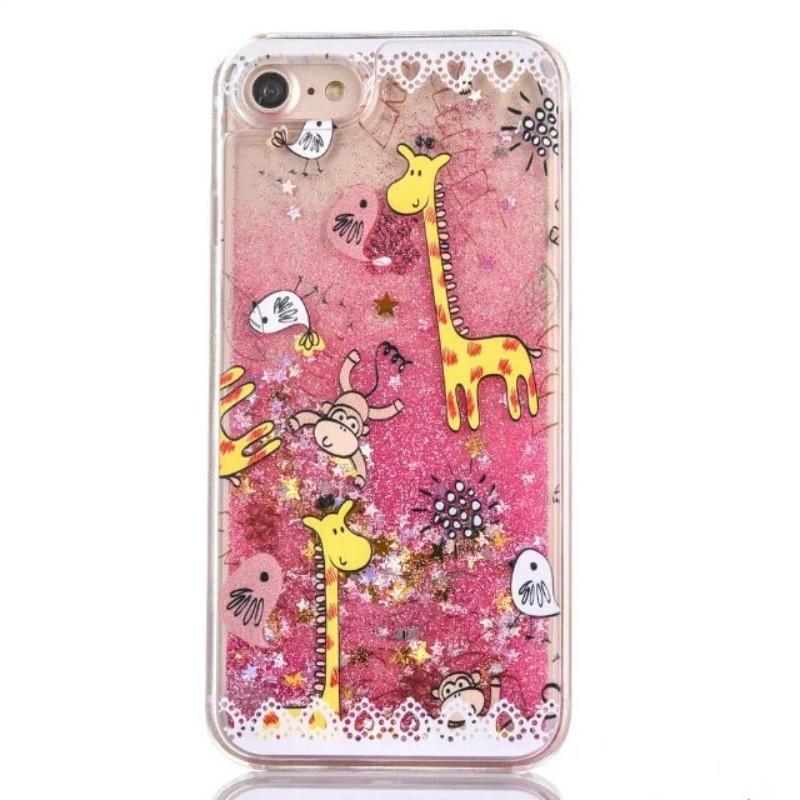 Animal pattern Transparent Phone case for iphone7 Liquid quicksand Hard clear plastic back cover for iphone7 plus accessories