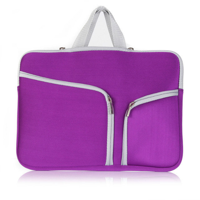 Fashion Colors Laptop Neoprene Sleeve Bag Covers with Handle for all sizes macbook, purple