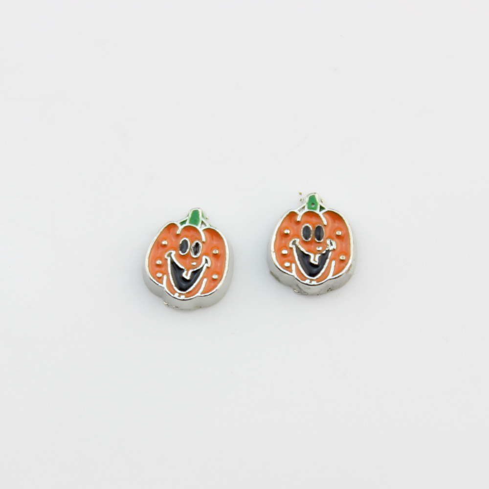 20pcs/lot Halloween pumpkin charms silver enamel orange floating locket charms for glass living memory locket bracelet necklace