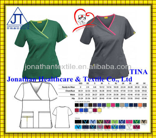 Quality Stylish! printed/solid nurse scrubs/nurse scrub suits