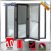 Superhouse Australia AS2047 Standard commercial system double glass folding door with blinds inside
