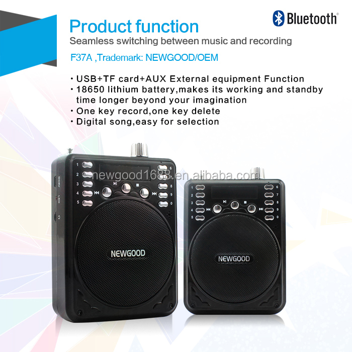 NEWGOOD Bluetooth digital mp3 player usb driver amplifier player speaker for gift sales promotion