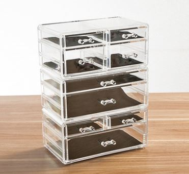 acrylic lucite clear makeup organizer with drawers makeup brush storage organizer