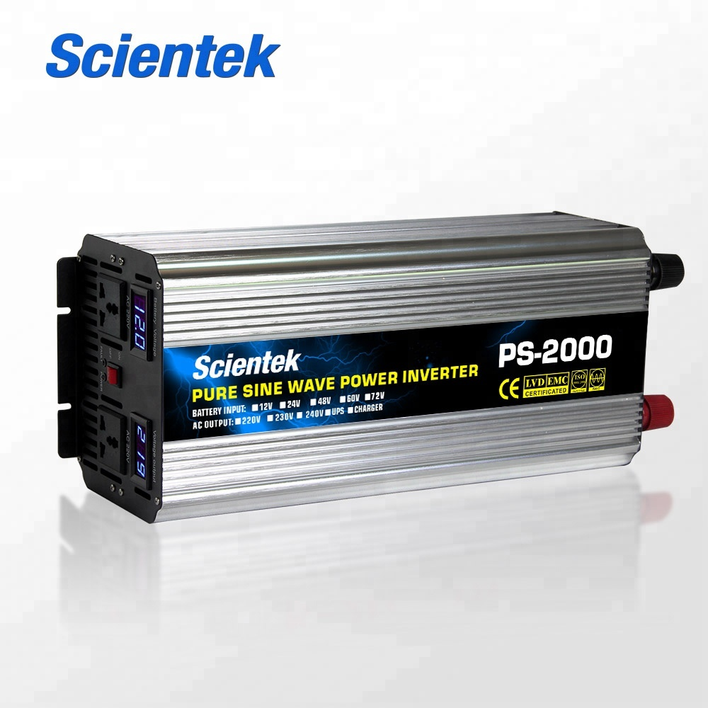 2000W 2KW 12V 24V 48V <strong>dc</strong> to ac 110V 220V 230V 2000 Watt pure sine wave solar power inverter converter charger systems